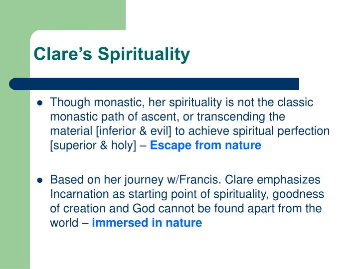 Clare's Spirituality