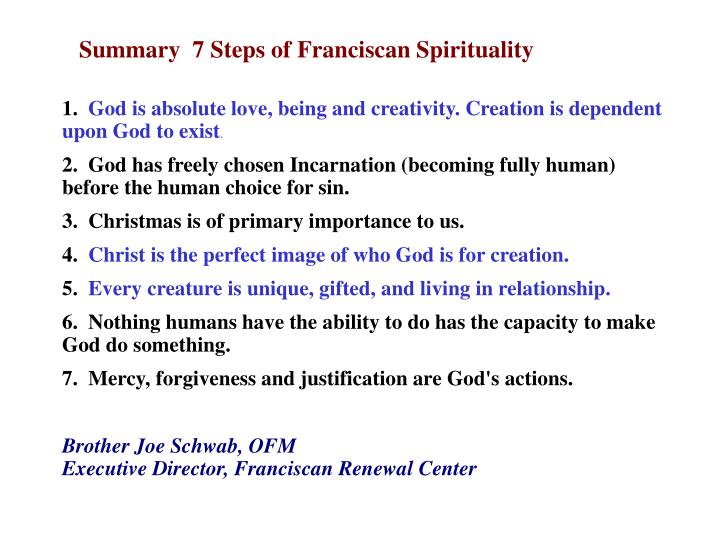 Summary  7 Steps of Franciscan Spirituality