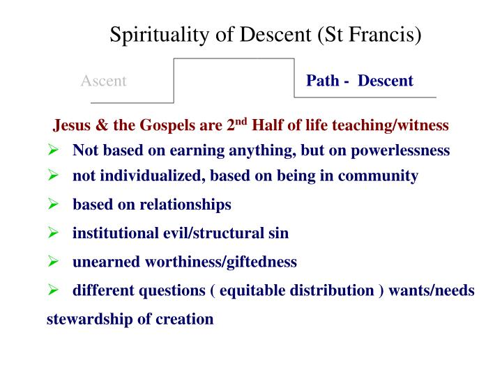 Spirituality of Descent (St Francis)
