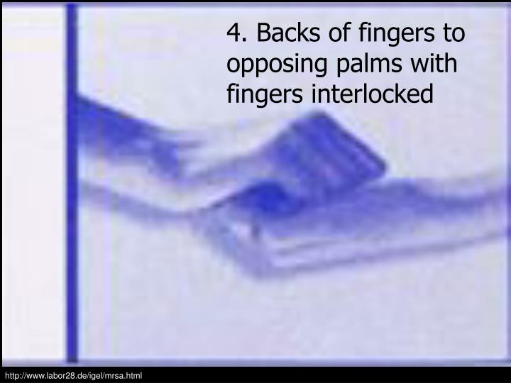 4. Backs of fingers to opposing palms with fingers interlocked