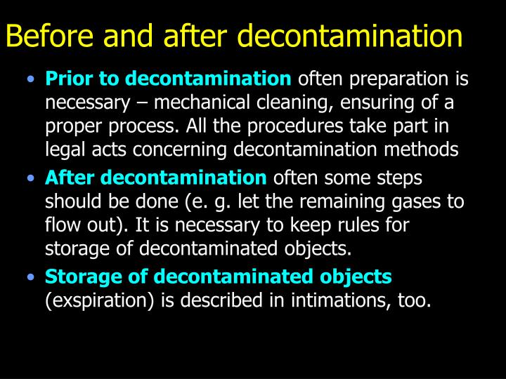 Before and after decontamination