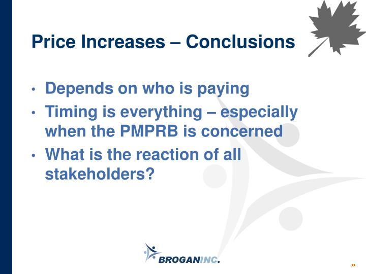 Price Increases – Conclusions
