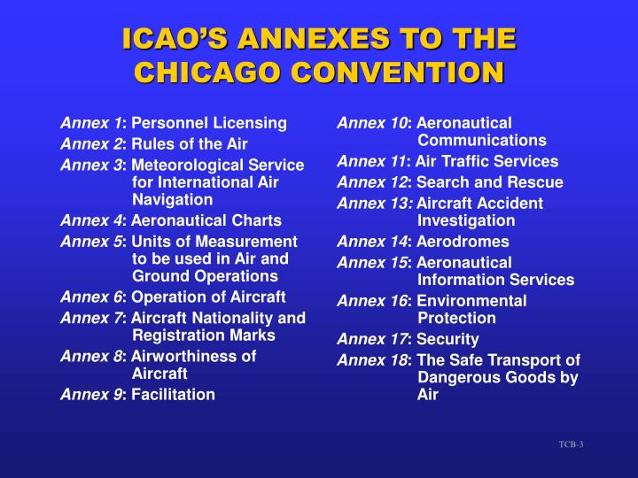 Icao s annexes to the chicago convention