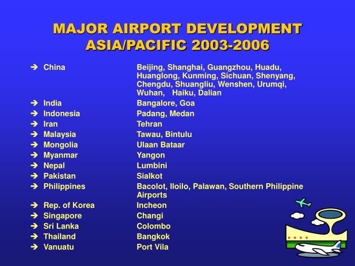 MAJOR AIRPORT DEVELOPMENT ASIA/PACIFIC 2003-2006