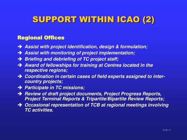 SUPPORT WITHIN ICAO (2)