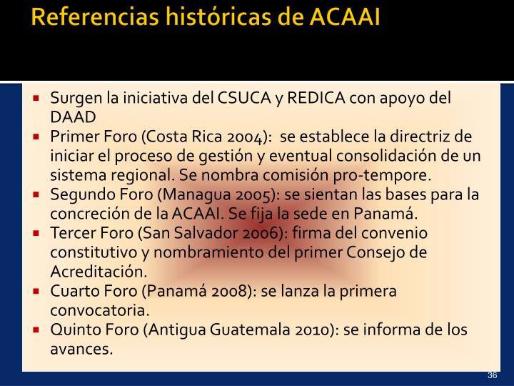 Referencias históricas de ACAAI