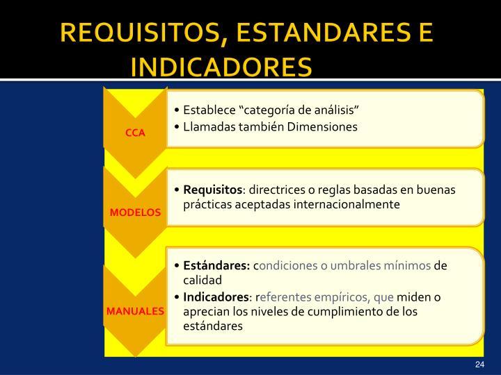REQUISITOS, ESTANDARES E INDICADORES