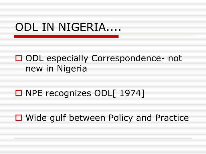 ODL IN NIGERIA....