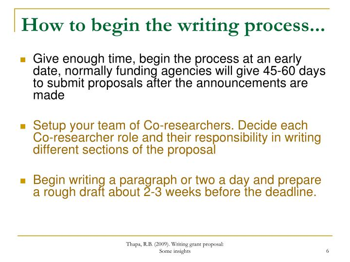 How to begin the writing process...
