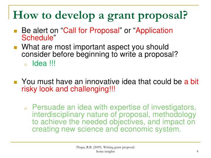 How to develop a grant proposal?