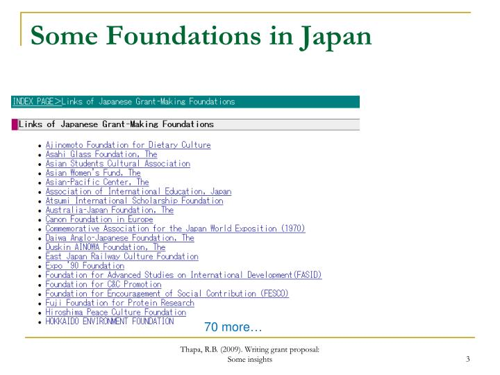 Some Foundations in Japan