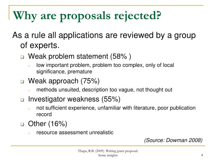 Why are proposals rejected?