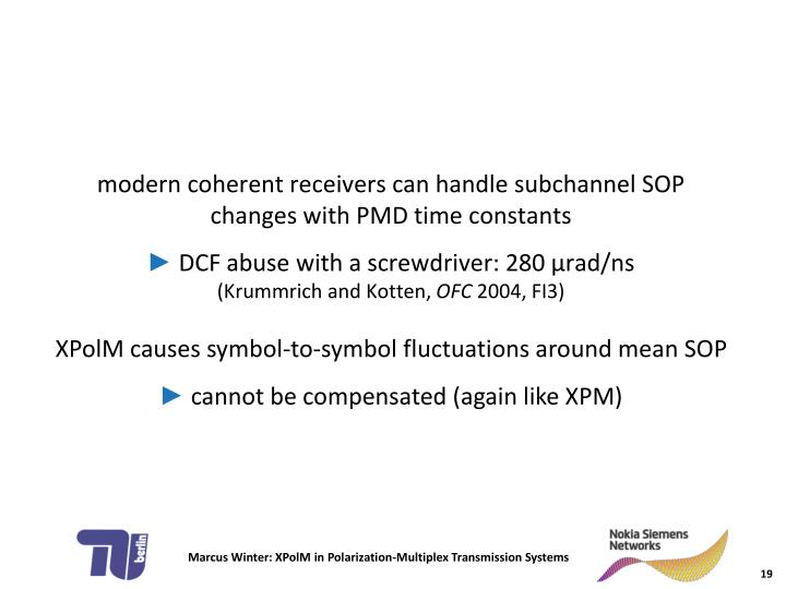 XPolM causes symbol-to-symbol fluctuations around mean SOP