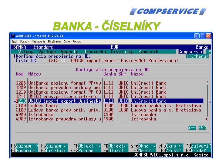 BANKA - ČÍSELNÍKY