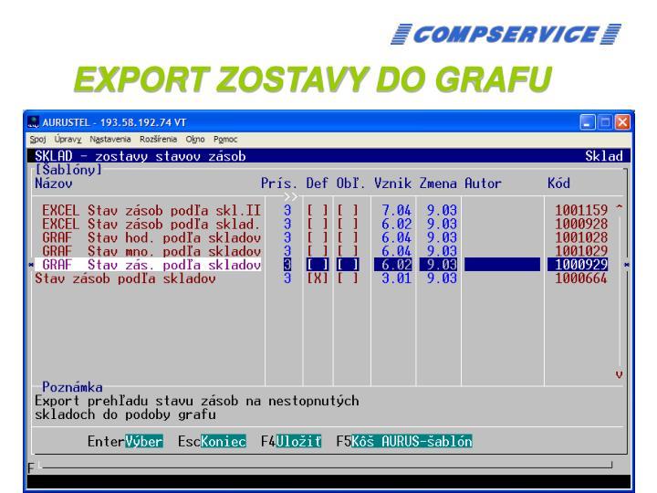 EXPORT ZOSTAVY DO GRAFU