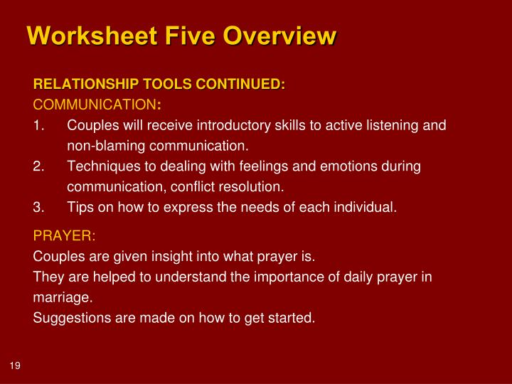 Worksheet Five Overview