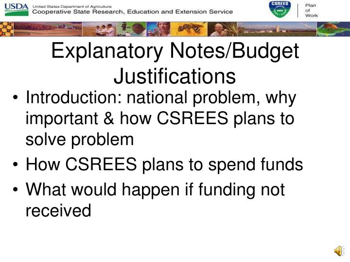 Explanatory Notes/Budget Justifications
