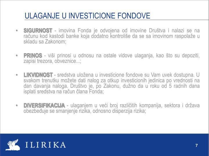ULAGANJE U INVESTICIONE FONDOVE