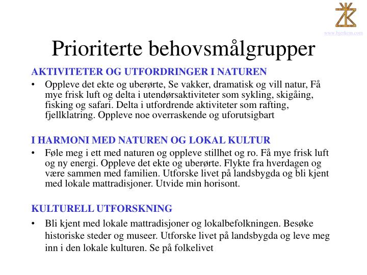 Prioriterte behovsmålgrupper