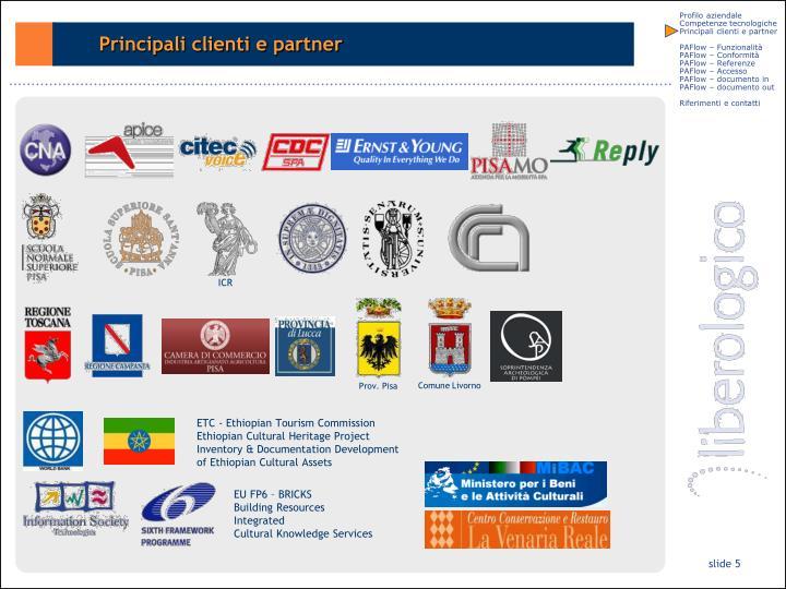 Principali clienti e partner