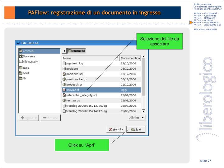 PAFlow: registrazione di un documento in ingresso