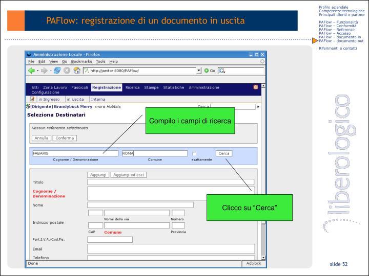 PAFlow: registrazione di un documento in uscita