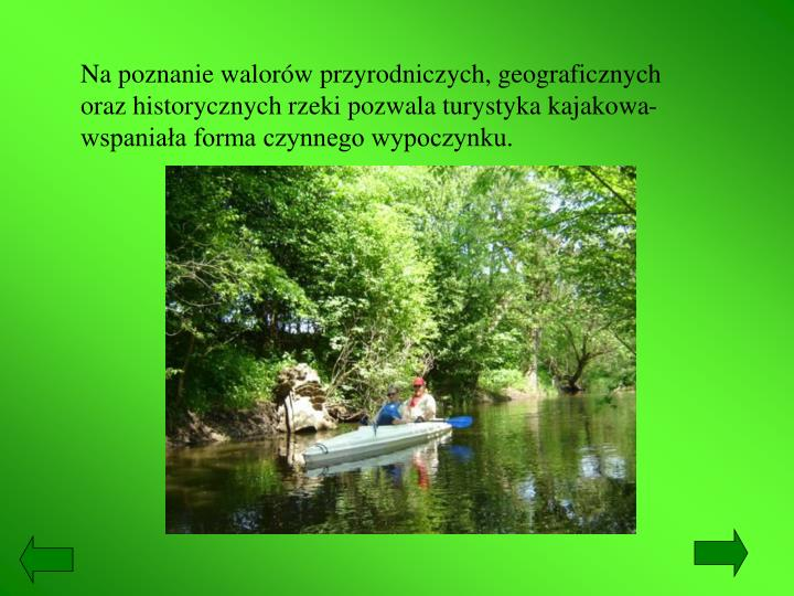 Na poznanie walorów przyrodniczych, geograficznych oraz historycznych rzeki pozwala turystyka kajakowa-wspaniała forma czynnego wypoczynku.
