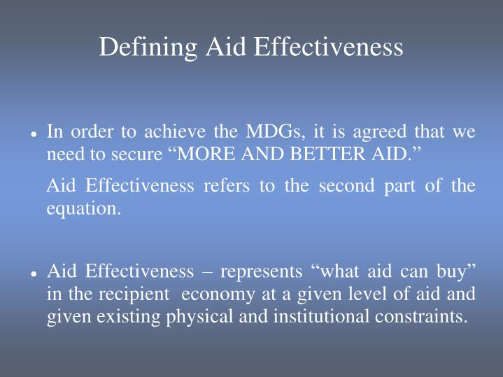 Defining Aid Effectiveness