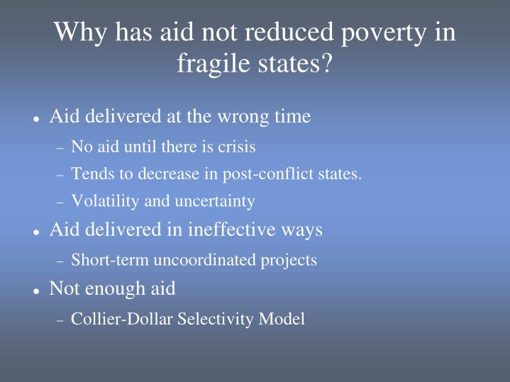 Why has aid not reduced poverty in fragile states?