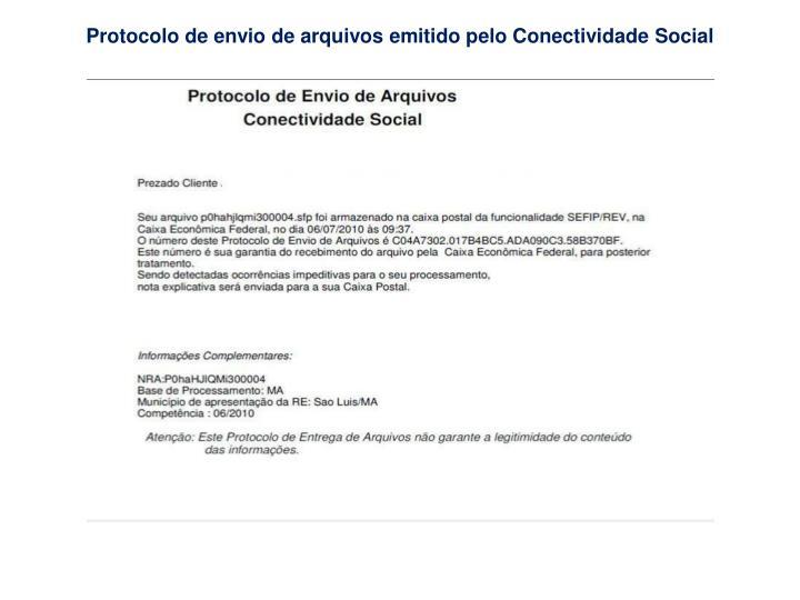 Protocolo de envio de arquivos emitido pelo Conectividade Social
