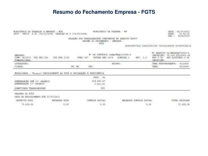 Resumo do Fechamento Empresa - FGTS