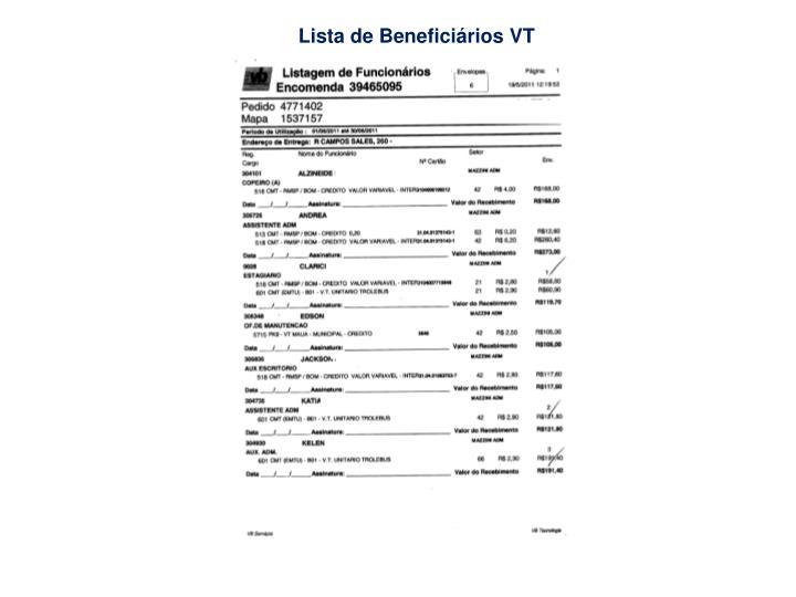 Lista de Beneficiários VT