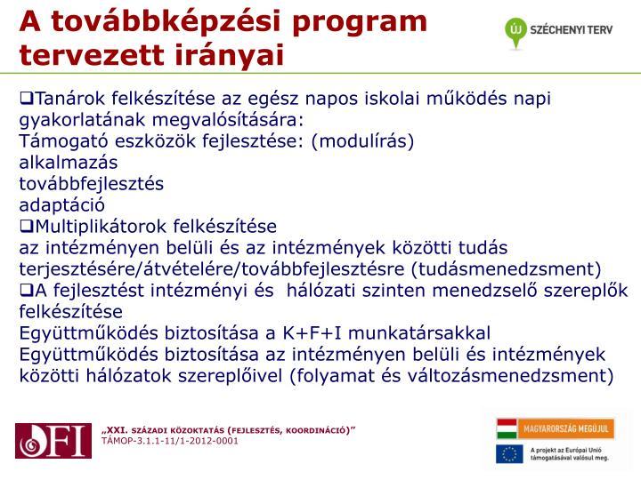 A továbbképzési program tervezett irányai