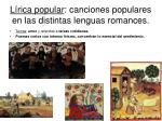 l rica popular canciones populares en las distintas lenguas romances