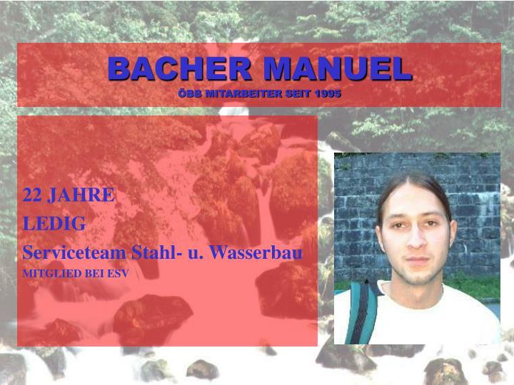 BACHER MANUEL