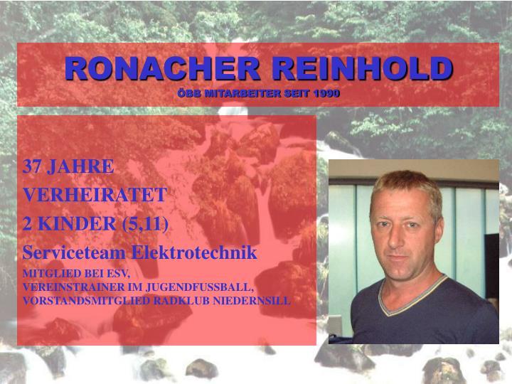 RONACHER REINHOLD