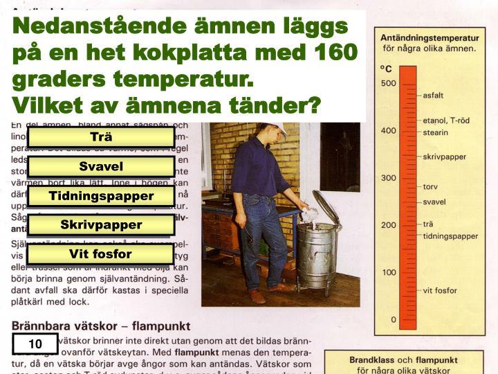 Nedanstående ämnen läggs på en het kokplatta med 160 graders temperatur.