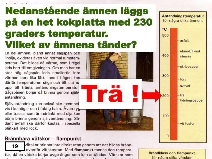 Nedanstående ämnen läggs på en het kokplatta med 230 graders temperatur.
