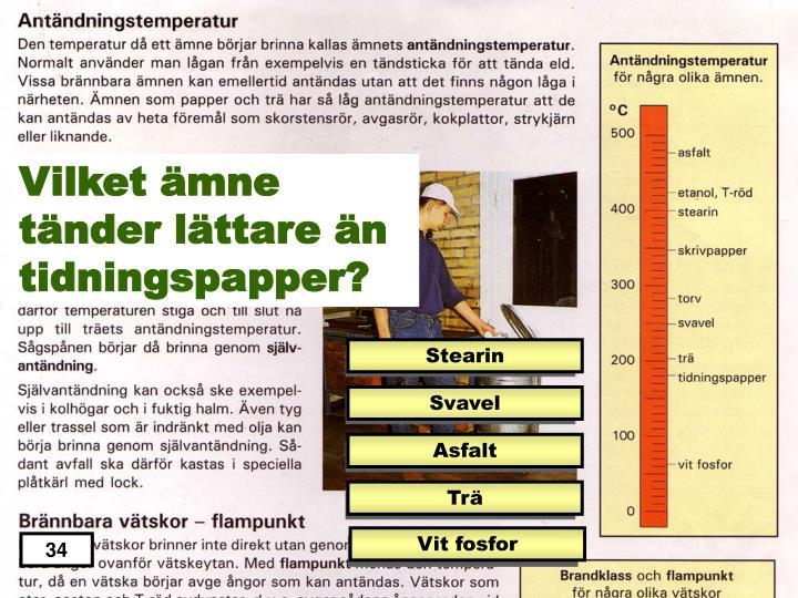 Vilket ämne tänder lättare än tidningspapper?