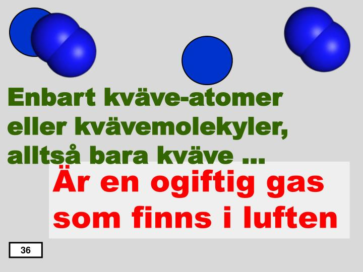 Enbart kväve-atomer eller kvävemolekyler, alltså bara kväve …
