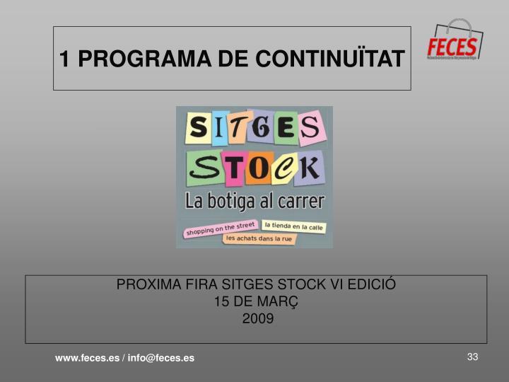 PROXIMA FIRA SITGES STOCK VI EDICIÓ