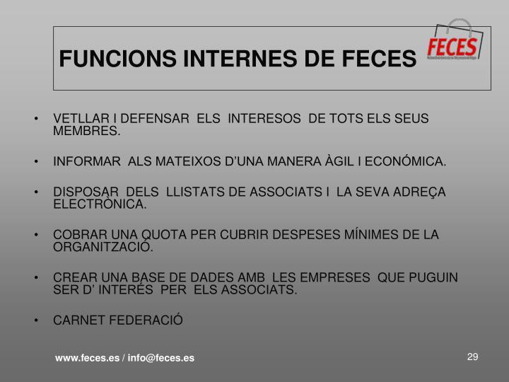 FUNCIONS INTERNES DE FECES