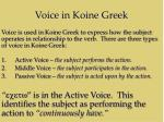 voice in koine greek
