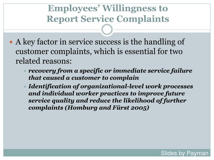 Employees willingness to report service complaints1