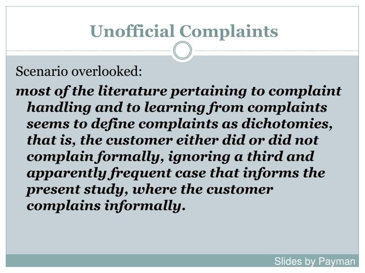 Unofficial Complaints
