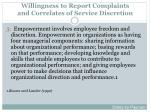 willingness to report complaints and correlates of service discretion2