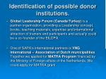 identification of possible donor institutions