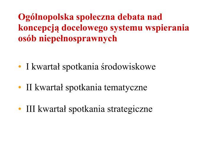 Ogólnopolska społeczna debata nad koncepcją docelowego systemu wspierania osób niepełnosprawnych