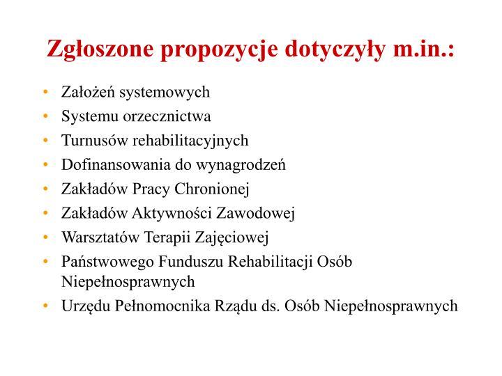 Zgłoszone propozycje dotyczyły m.in.: