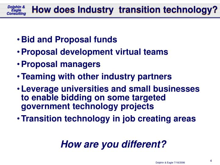 How does Industry  transition technology?